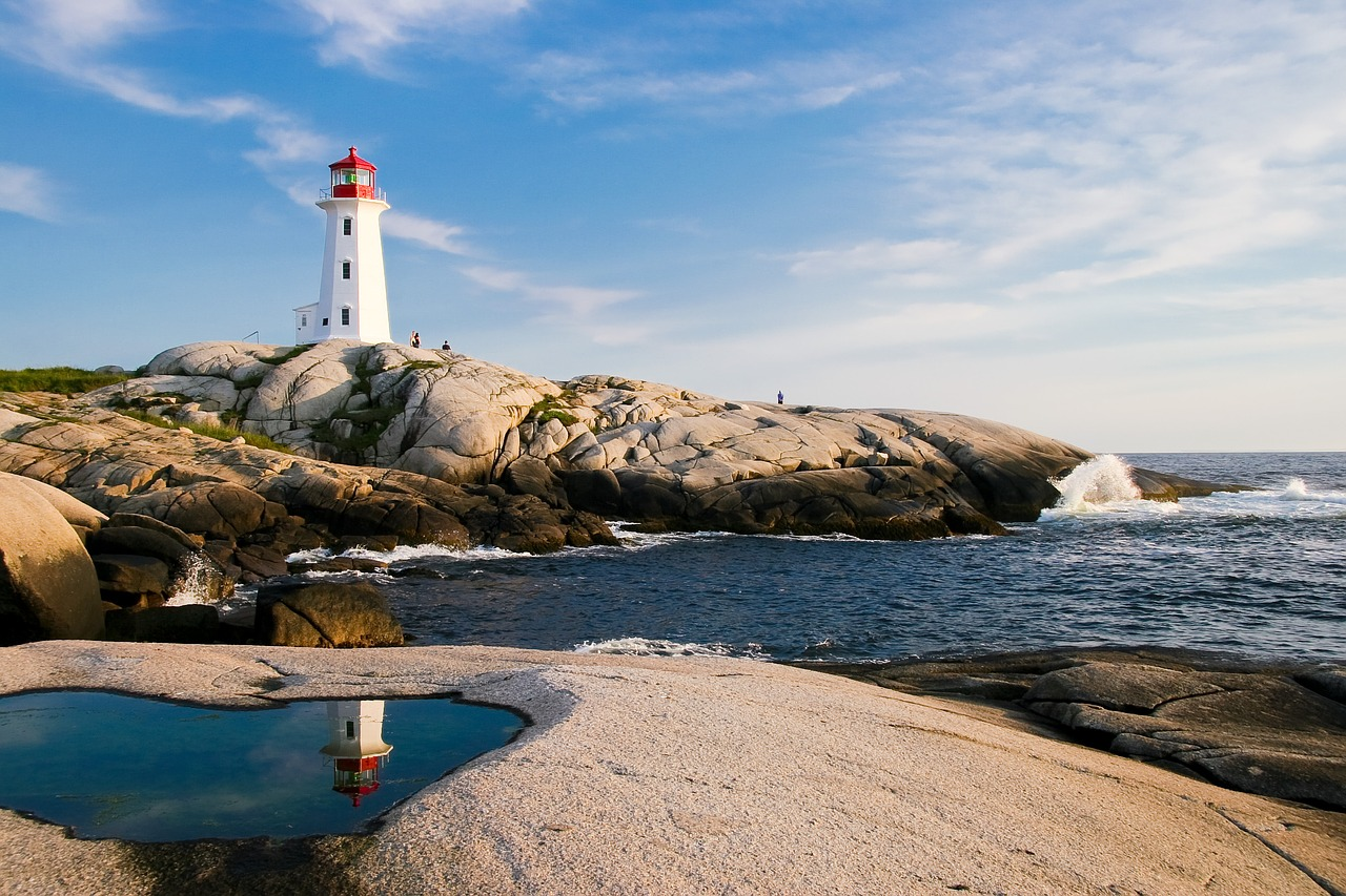 Leuchtturm weiß mit roter Spitze auf Steininsel.